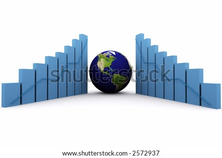3d rendered earth and bars showing profits increasing