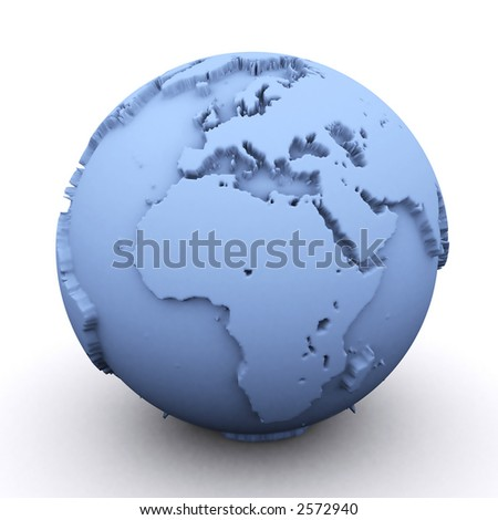 3d rendered earth showing the europe and africa - stock photo
