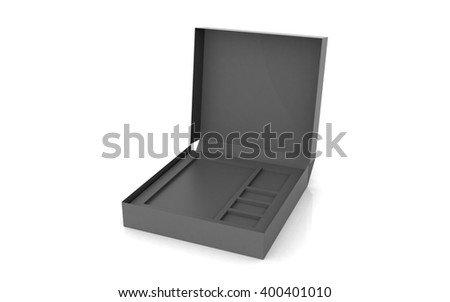 3D rendered empty box package - stock photo