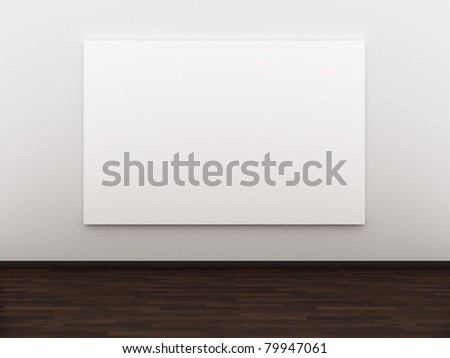 3d rendered empty room with a blank canvas - stock photo