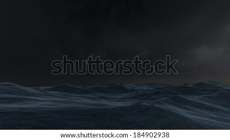 3D rendered enviroment scene of ocean at night with moon light - stock photo