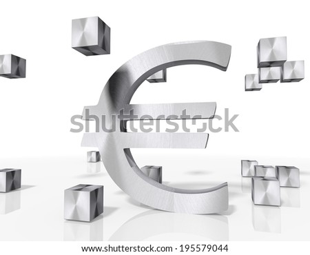 3d rendered Euro icon constructed out of metallic faces. A icon Euro builds up in the middle of the scene surrounded by steel cubes on white background - stock photo