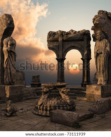 3D rendered fantasy ancient temple ruins with statues - stock photo