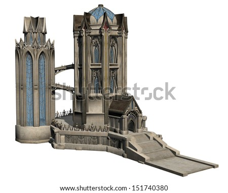 3D rendered fantasy castle on white background isolated - stock photo
