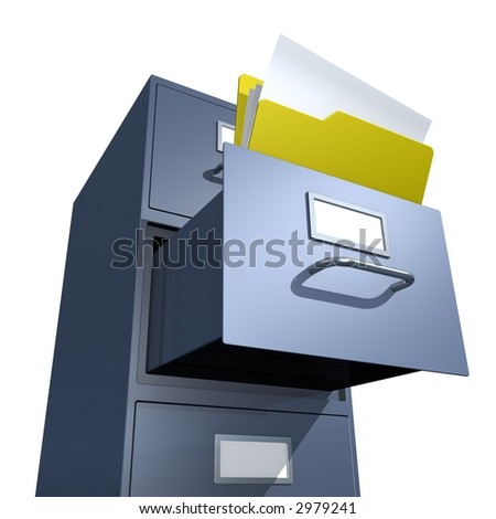3D rendered file drawer with opened folder over white background