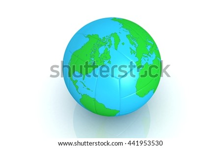 3d rendered foot ball textured the world map - stock photo