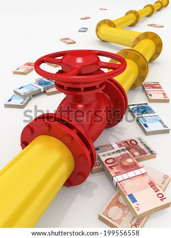 3D rendered gas pipeline with money - stock photo