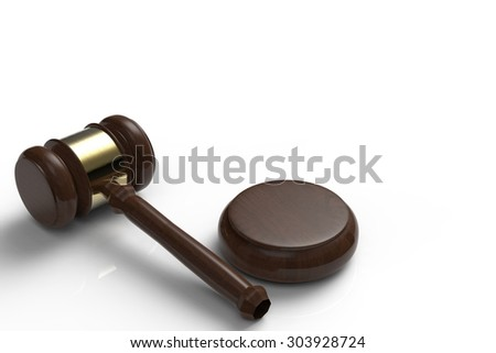 3d rendered gavel judge on white background - stock photo