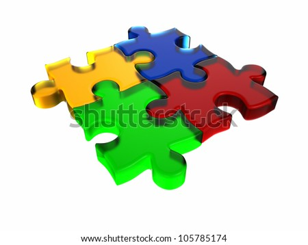 3D rendered glass puzzle isolated on white background.