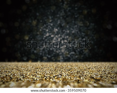 3d rendered gold glitter with bokeh background
