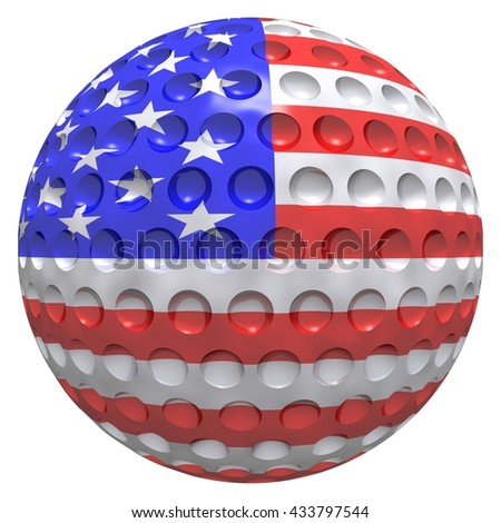 3D rendered golf ball with US flag texture. Ideal for US based golf events. Isolated on a white background.