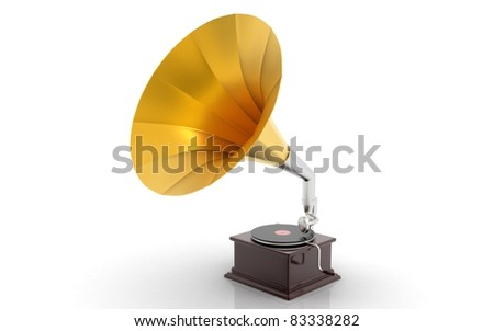 3d rendered gramophone isolated on white background