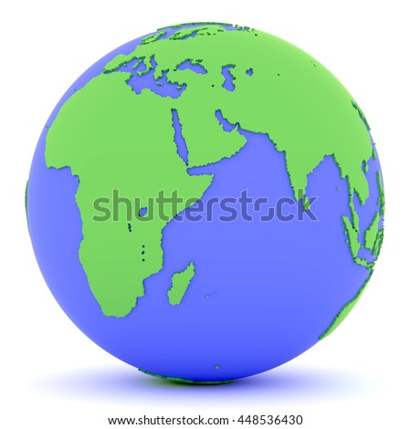 3D rendered green and blue Earth