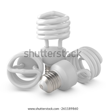 3d rendered group of  fluorescent lamps - stock photo