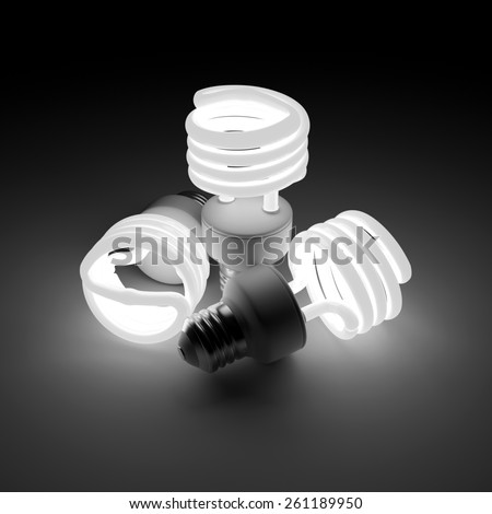 3d rendered group of  luminous fluorescent lamps - stock photo