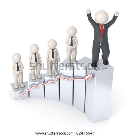 3d rendered happy business people on gray financial graph - Semi isolated with soft shadow