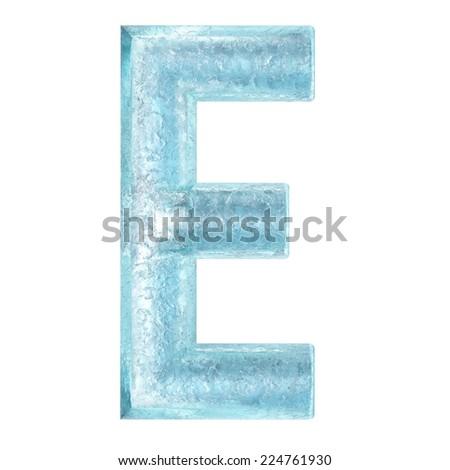 3d rendered ice alphabet letter E - stock photo