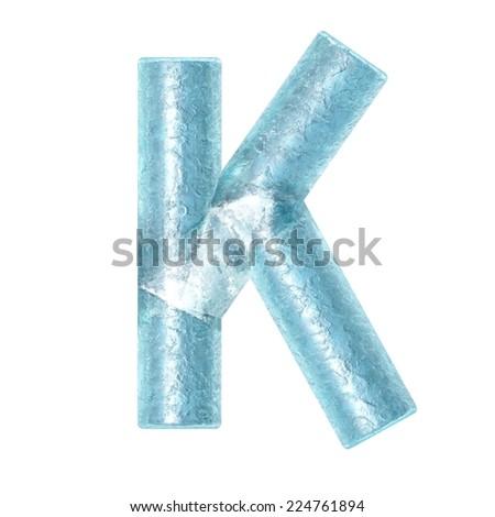 3d rendered ice alphabet letter K - stock photo