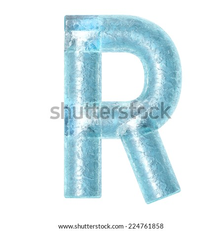 3d rendered ice alphabet letter R