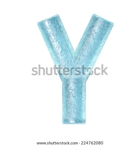 3d rendered ice alphabet letter y - stock photo