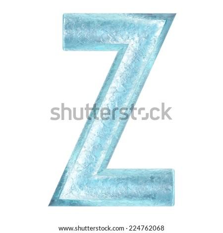 3d rendered ice alphabet letter z - stock photo