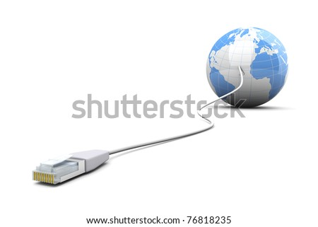 3D rendered Illustration. A cable connected World. Isolated on white. - stock photo