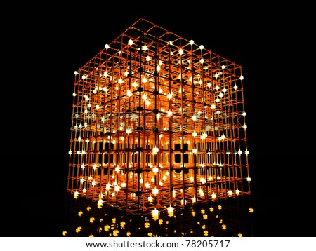 3D rendered Illustration. A glowing grid. - stock photo
