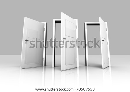 3D rendered Illustration. All Doors are opened for you... - stock photo