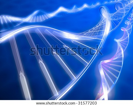 3d rendered illustration. DNA strands on abstract background - stock photo