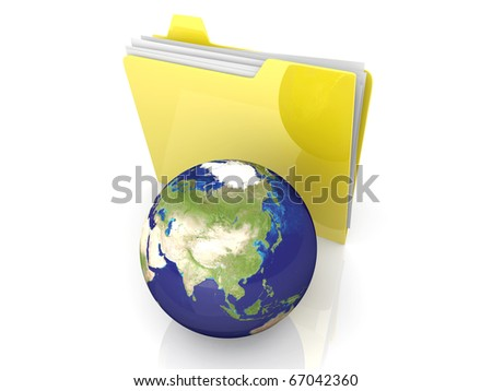 3D rendered Illustration. Global network folder - shared directory. Isolated on white.
