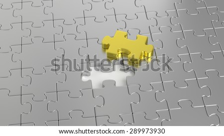 3D rendered illustration. Gray puzzle maze missing a golden puzzle piece. Most important puzzle piece. The last piece of the puzzle. - stock photo