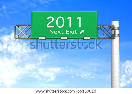 3D rendered Illustration. Highway Sign next exit 2011. - stock photo