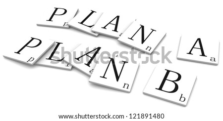 3d rendered illustration isolated on white. Plan A and B - stock photo