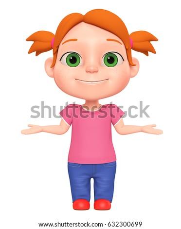 3 d rendered illustration little girl shrugs stock illustration