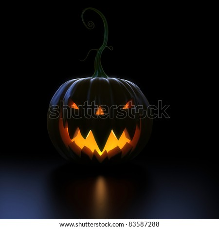 3d rendered illustration of a big, scary, pumpkin - stock photo