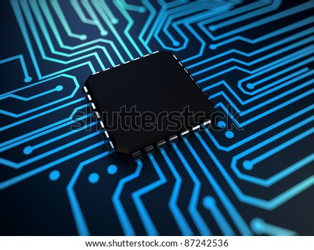 3d rendered illustration of a cpu in blue - stock photo