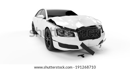 3d rendered illustration of a crash car - stock photo