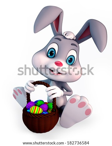 3d rendered illustration of a cute easter bunny with basket full of eggs - stock photo