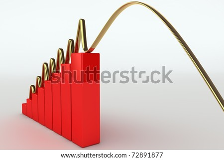 3D rendered illustration of a falling business graph