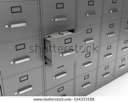 3d rendered illustration of a filing cabinet