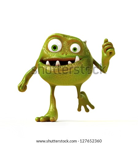 3d rendered illustration of a funny bacteria toon - stock photo