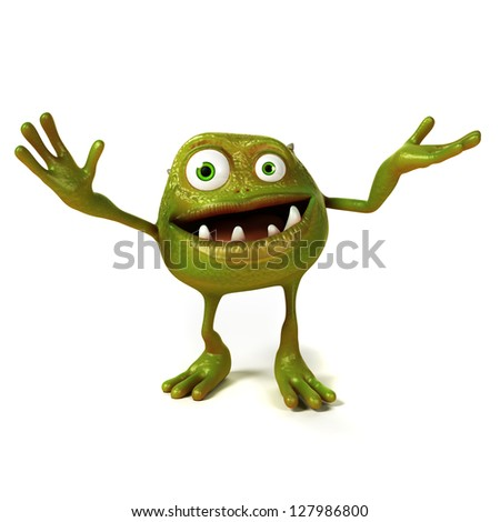 3d rendered illustration of a funny bacteria toon