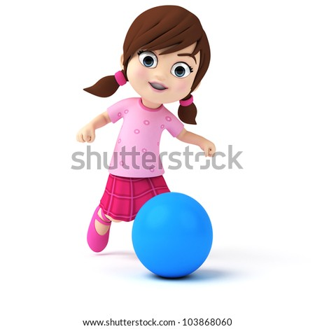 3d rendered illustration of a little girl - stock photo