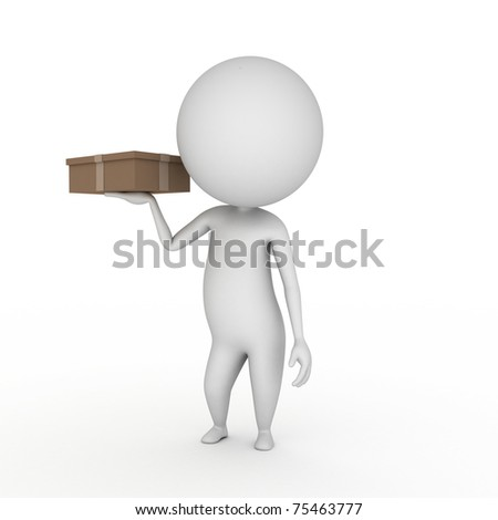 3d rendered illustration of a little guy with a package