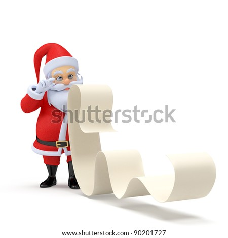 3d rendered illustration of a little santa with a long wishlist - stock photo