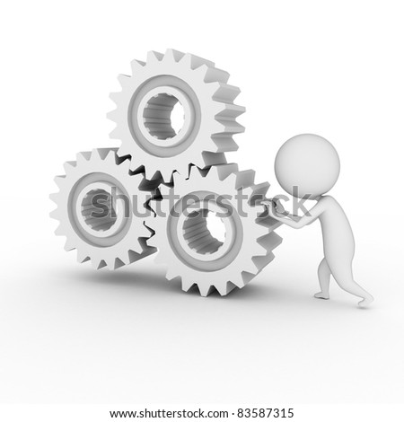 3d rendered illustration of a little white guy with some gears