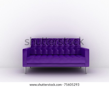 3d rendered illustration of a purple sofa - stock photo