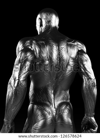 3d rendered illustration of a steel muscle man - stock photo