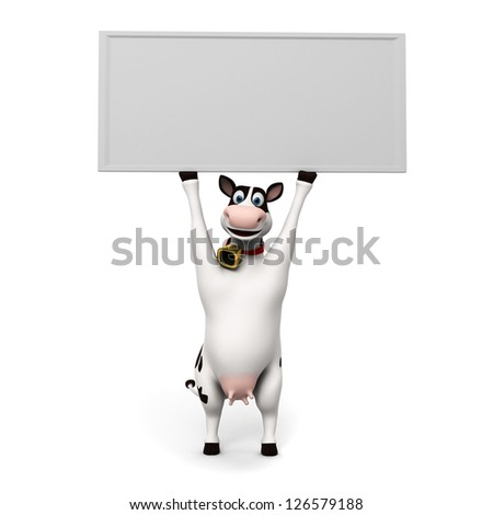 3d rendered illustration of a toon cow - stock photo