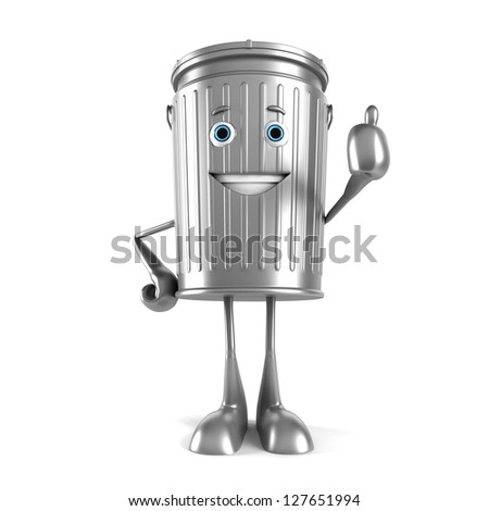 3d rendered illustration of a trash can character - stock photo